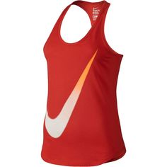 Nike Gradient Swoosh Tank Top Red ($20) ❤ liked on Polyvore featuring activewear, activewear tops, nike sportswear, nike activewear and nike