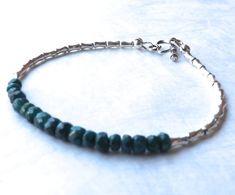 Emerald Bracelet, Emerald Sapphire Bracelet, Karen Hill Silver Bracelet, May Birthstone Bracelet, Gemstone Bracelet, Beadwork Bracelet
