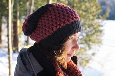 Slouchy Urban Crochet Hat in Pink and Grey