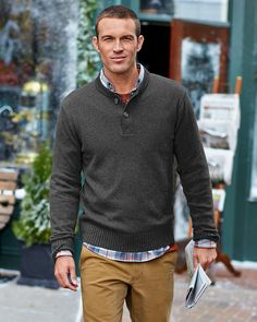 Men's Signature Cotton Henley Sweater | Inspired by a traditional military style, our cotton henley sweater is made with soft, breathable, durable yarns that make it an all-season classic. Full-fashioned sleeves for smooth, non-bulky armhole seams. Rib-knit construction at the collar, cuffs, and hem ensure excellent shape retention.