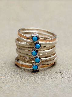 Free People Stacked Turquoise Ring, $128.00