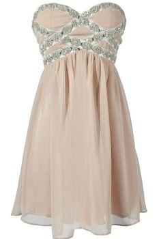 Sparkling Splendor Embellished Chiffon Designer Dress by Minuet in Champagne    www.lilyboutique.com