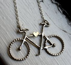 Le Petit Bike with One Heart- Handmade Sterling Silver Necklace