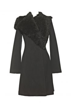 COSIMA    Coat w/ Shearling Wrap Collar