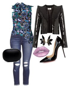 """""""Untitled #113"""" by cbutler1919 on Polyvore featuring self-portrait, Yves Saint Laurent, Christian Louboutin and Marni"""