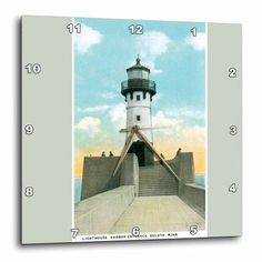3dRose Lighthouse Harbor entrance Duluth Minnesota, Wall Clock, 15 by 15-inch