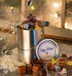 Gift Item | Holiday Gift Pail with Avenue Sweets Caramel Trio. Just right for that special HOME! Send one to yourself and one to a friend, today! SOC ID 72492