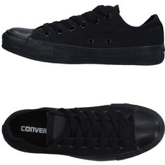 Converse All Star Sneakers ($64) ❤ liked on Polyvore featuring shoes, sneakers, black, flat shoes, kohl shoes, black low tops, black flat shoes and black trainers