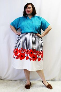 Plus Size - Vintage Turquoise Crepe de Chine Pleated Blouse by TheCurvyElle, $18.00