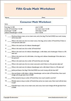 best fifth grade worksheets images  fifth grade free printable  basic printable consumer math worksheet