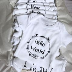 Personalized Name Baby Romper Mashed Clothing Hello World Im Tyler