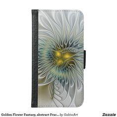 Golden Flower Fantasy, abstract Fractal Art Wallet Phone Case For Samsung Galaxy S6