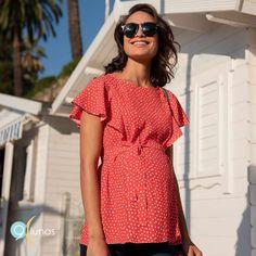 Top de lactancia ymaternidad en 9 Lunas One Shoulder, Shoulder Dress, Dresses, Fashion, Sleeveless Tops, Breast Feeding, Fashion Dresses, Red, Patterns