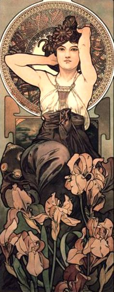 """""""Amethyst"""" ~ Alphonse Mucha ~ Click through the large version for a full-screen view (with a black background in Firefox). Set your computer for full-screen. ~ From the """"Precious Stones"""" series. ~ Miks' Pics """"Alphonse Mucha l"""" board @ http://www.pinterest.com/msmgish/alphonse-mucha-l/"""