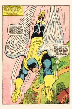 Angel by Jack Kirby Downward motion to show him flying. Curious.