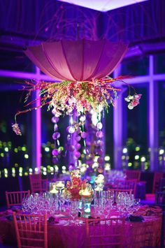 Beautiful   Wedding Table Arrangement   Reception   Purple Lights   Celebrate