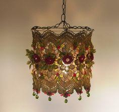 Anat Bon's Handmade Lamp  - Stunning Rose Garden Fantasy Lamp Shades. $190.00, via Etsy.