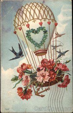Vintage Postcard - Hot air baloon