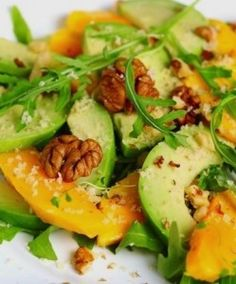 Mango, avocado, and arugula salad - @Jessica Mcanally - this is the perfect combo for the two of us!! ;)