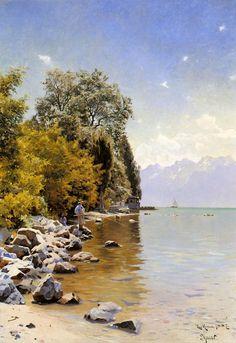 Fishing on Lac Leman, Oil by Peder Mork Monsted (1859-1941, Denmark)