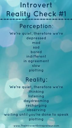 "Introvert Reality Check #1 - ""We're quiet, therefore we're..."" the perception and reality."