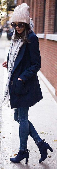 #winter #fashion / White Beanie + Navy Coat + Skinny Jeans + Navy Booties