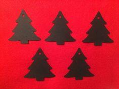 20x Christmas Tree Die Cut Black Card Gift Tags Embellishments Craft Xmas Plain