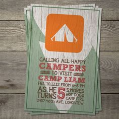 Camping Themed Party Invite.