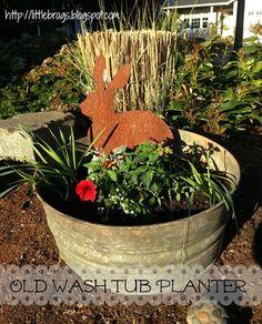 Little Brags: Cute Planting Ideas - old wash tub