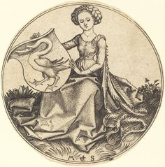 Martin Schongauer  Shield with Swan, Held by Woman, c. 1480/1490  Rosenwald Collection  1943.3.82