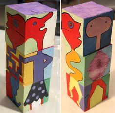 painting exquisite corpse cubes