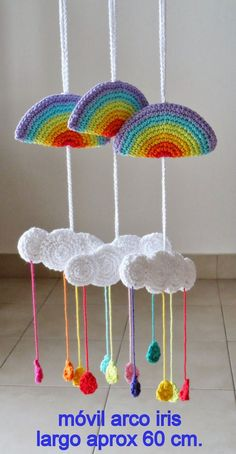Amigurumis en un Click: marzo 2014 Knitting TechniquesKnitting HatCrochet ProjectsCrochet Bag Mobiles En Crochet, Crochet Mobile, Crochet Art, Crochet Home, Love Crochet, Crochet Gifts, Diy Crafts To Do, Yarn Crafts, Knitting Patterns