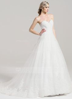 Ball-Gown Sweetheart Chapel Train Zipper Up Covered Button Strapless Sleeveless Church General Plus No Spring Summer Fall Ivory Tulle Wedding Dress