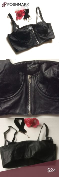 NWOT Authentic leather bustier n choker bundle Never worn real leather bustier corset size XL. , I'm a 34/36 D and I don't fill it completely, rib cage width is 34 inches,  measurement at bust 37/38 inches wide .  Made in Canada, has adjustable shoulder straps and front zipper.  I'm giving a free boutique new choker as these look soo cute together!, markdown price firm unless bundled Allure Leather Intimates & Sleepwear Bras