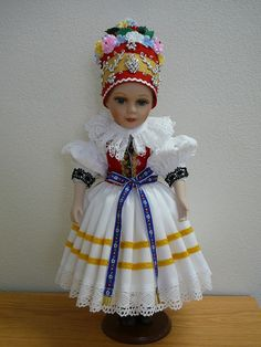 Doll in Czech folk costune Folk Costume, Costumes, World Thinking Day, Ethnic Outfits, Folk Embroidery, Hana, Puppets, Baby Toys, Fashion Dolls