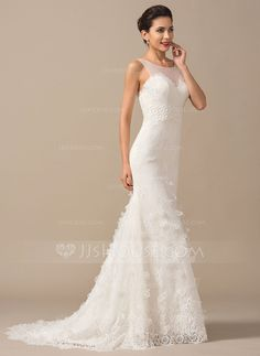 [US$ 269.99] Trumpet/Mermaid Scoop Neck Court Train Lace Wedding Dress With Flower(s)