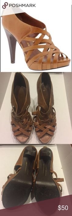 Chinese Laundry leather heels Cognac tan leather ✨ only worn a few times ✨4 inch heel; 1 inch platform.    Slight scuff at toes and on left shoe interior (pictured). Chinese Laundry Shoes Heels