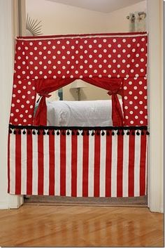 door way puppet theater tutorial  http://crafterholic.blogspot.com/2011/09/doorway-puppet-theatre.html