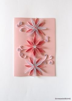 Ombre Pink Flower Quilling Card Pastel Pink by GermanistikArt