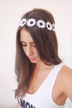 White Daisy Flower Floral Headband Headpiece by GoldLeafFashion, $10.00