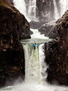 A kayaker places one of her last strokes off Celestial Falls, near Hood River, Oregon.                                                                                    Photograph by Tyler Roemer, My Shot