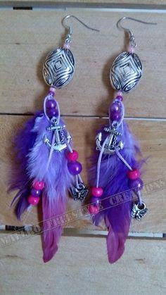 Oorbellen losse steker. Zilver/roze/paars(anker)