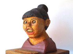 vintage 80s folkart carved wood painted creepy odd woman
