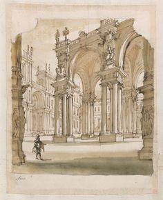 """""""Atrio"""", studio per scenografia con cortile porticato, 1728 – 1729 circa"""