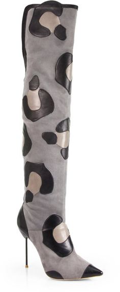 Sophia Webster Gray Hallie Leopardprint Suede Leather Thighhigh Boots