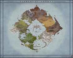Planeworld Map - Elemental Courts by Levodoom on DeviantArt Fantasy Map Making, Fantasy City Map, Fantasy World Map, Fantasy Places, Dnd World Map, Imaginary Maps, Rpg Map, Dungeon Maps, D&d Dungeons And Dragons