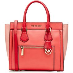 Michael Michael Kors Leather Colorblock Tote ($346) ❤ liked on Polyvore