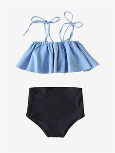 Feature Material: polyester&spandex Color:Blue Cold hand wash/Machine wash Please look at the measurements below for guidance Size Charts Size M, Bathing Suits For Teens, Summer Bathing Suits, Cute Bathing Suits, Sporty Swimwear, Retro Swimwear, Summer Swimwear, Swimwear Brands, Bikini Swimwear, Flounce Bikini