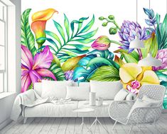 Removable Wallpaper Mural Peel & Stick Paradise Nature Tropical Flowers Frame Orchid Hibiscus and Palm Leaves Graffiti Murals, Mural Art, Wall Murals, Wallpaper Murals, Flower Mural, Flower Frame, Flower Wall, Garden Mural, Bedroom Murals
