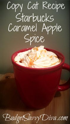 Copy Cat Recipe - Taste just like the real thing without the hefty price tag. Done in 5 minutes. Copy Cat Recipe - Starbucks Caramel Apple Spice